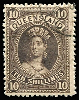Lot 979 [2 of 4]:1886-95 High Values 2/6d to £1 with Brisbane quarter cds comprising thick paper 5/-, 10/- and £1, SG #159, 160 & 161a, 2/6d thin paper SG #162. Good perfs and good colours, 5/- no gum, others full gum. (4)