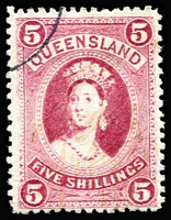 Lot 979 [3 of 4]:1886-95 High Values 2/6d to £1 with Brisbane quarter cds comprising thick paper 5/-, 10/- and £1, SG #159, 160 & 161a, 2/6d thin paper SG #162. Good perfs and good colours, 5/- no gum, others full gum. (4)