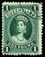 Lot 979 [1 of 4]:1886-95 High Values 2/6d to £1 with Brisbane quarter cds comprising thick paper 5/-, 10/- and £1, SG #159, 160 & 161a, 2/6d thin paper SG #162. Good perfs and good colours, 5/- no gum, others full gum. (4)
