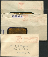 Lot 361 [2 of 3]:Brisbane PAID Machine Cancels: collection on cover, from 1933 to early 1970s. (19)