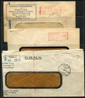 Lot 361 [1 of 3]:Brisbane PAID Machine Cancels: collection on cover, from 1933 to early 1970s. (19)