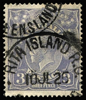 Lot 1208:Rita Island: 2 part strikes of 'RITA ISLAND R.O/10JL25/[QU]EENSLAND' (ERD) 3d blue KGV. [Rated 4R - Smithies recorded one date in 1953.]  RO c.-/5/1923; PO 1/7/1927; TO c.-/4/1937; closed c.1965.