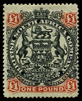Lot 1648:1897 Arms Scroll Between Legs £1 black & red-brown/green, SG #73, fine mint, Cat £450.