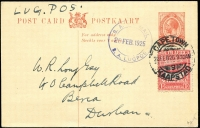 Lot 1521:1925 Capetown-Durban 1d Postal Card uprated with 1d Airmail, blue 'S.A. AIR