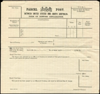 Lot 808:Parcel Post: gummed Customs Declaration form between United States & South Australia 5000-22.7.05. Unused, small faults.