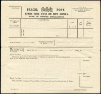 Lot 1163:Parcel Post: gummed Customs Declaration form between United States & South Australia 5000-22.7.05, unused.