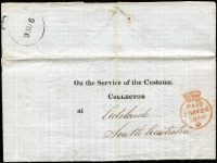 Lot 1011:1846 (Nov 9) printed 'On the Service of The Customs/Collector' entire letter used London to Adelaide, fine crowned Paid datestamp in red (25MY25/1846) and arrival datestamp in black showing only the day and month slugs '9NO6' (appears to be poorly printed FREE handstamp). One of three known examples. Attractive.