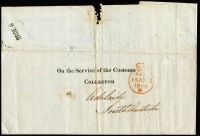 Lot 929:1846 (Dec 28) printed 'On the Service of The Customs/Collector' entire letter used London to Adelaide, fine crowned Paid datestamp in red (15JU15/1846) and arrival datestamp in black showing only the day and month slugs '28DE6' (appears to be poorly printed FREE handstamp). One of three known examples. Central fold beginning to separate.