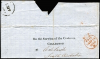 Lot 1012:1847 (Feb 5) printed 'On the Service of The Customs/Collector' entire letter used London to Adelaide, fine crowned Paid datestamp in red (14SP14/1846) and arrival datestamp in black showing only the day and month slugs ''FRE[E]