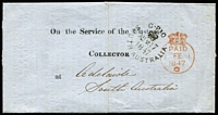Lot 1012:1847 (Aug 17) printed 'On the Service of The Customs/Collector' entire letter used London to Adelaide, fine crowned Paid datestamp in red (1FE1/1847) and black 'G·P·/[crown]/AU*17/1847/SOUTH AUSTRALIA' arrival on face. The message states that promotion is by merit only and applying for promotion is likely to be detrimental.