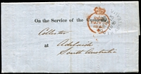 Lot 1013:1848 (Nov 13) printed 'On the Service of The Customs/Collector' entire letter used London to Adelaide, fine crowned Paid datestamp in red (19JY19/1848) and black '[G·P·O]