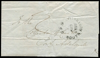 "Lot 1158:1852 (Aug 3) to the Collector of Customs, Port Adelaide black 'G·P·O/AU3/1852/SOUTH AUSTRALIA' arrival on face, rated ""2"" in red. The message asks what happened to the proceeds from a hogshead of gin."