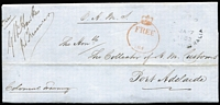 Lot 999:1853 (Jan 7) to the Collector of Customs, Port Adelaide black 'G·P·O/JA7/1853/SOUTH AUSTRALIA' arrival on face, red '[crown]/FREE/184' on face to indicate free postage. The message asks about emoluments and outstanding expenses.