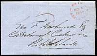 Lot 1016:1854 (Nov 4) to the Collector of Customs, Port Adelaide fine red 'PAID/NO4/1854/ADELAIDE.S.A' on face. Free frank privileges were abolished in 1853.