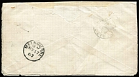 Lot 535 [2 of 2]:1887 (May 16) use of 'Adelaide Jubilee International Exhibition, 1887' cover with 2d orange 'OS' and fair Adelaide duplex, Melbourne transit & 'CARLTON' arrival backstamp, minor blemishes & the flap removed. Stated to be the only recorded example.