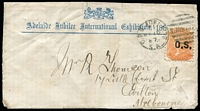 Lot 535 [1 of 2]:1887 (May 16) use of 'Adelaide Jubilee International Exhibition, 1887' cover with 2d orange 'OS' and fair Adelaide duplex, Melbourne transit & 'CARLTON' arrival backstamp, minor blemishes & the flap removed. Stated to be the only recorded example.