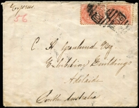 "Lot 536 [1 of 2]:1887 (Jun 17) inwards cover from NSW to C.H. Granlund/Exhibition Buildings/Adelaide with 1d DLR pair tied by BN '1106' of 'CROYDON/NSW' backstamp, endorsed ""Express/56"", Sydney & Adelaide transits & faint '[JUBILEE]"