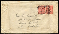 Lot 1018 [2 of 2]:1918 inwards cover from GB with black/pink 'POSTAL CUSTOMS,/SOUTH AUSTRALIA./Passed,' label on back, opened a little roughly. [This style of Customs label type is only recorded for South Australia.]