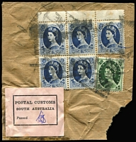 Lot 141 [3 of 3]:1950 (May 17) inwards letter from GB to The News, Adelaide, with black/pink 'POSTAL CUSTOMS/SOUTH AUSTRALIA/Passed' label on face. Airmail & Express Delivery labels on face, curiously with boxed 'SECOND CLASS/AIR MAIL' handstamp also on face. 1/4d in postage. Plus small parcel piece (1950s?) with same label and 8/3d in postage. (2)