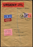 Lot 141 [1 of 3]:1950 (May 17) inwards letter from GB to The News, Adelaide, with black/pink 'POSTAL CUSTOMS/SOUTH AUSTRALIA/Passed' label on face. Airmail & Express Delivery labels on face, curiously with boxed 'SECOND CLASS/AIR MAIL' handstamp also on face. 1/4d in postage. Plus small parcel piece (1950s?) with same label and 8/3d in postage. (2)