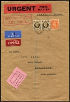 Lot 847 [1 of 2]:1950 (Jun 22) inwards letter from GB to The News, Adelaide, with black/pink 'POSTAL CUSTOMS/SOUTH AUSTRALIA/Passed' label on face. Airmail & Express Delivery labels on face, curiously with boxed 'SECOND CLASS/AIR MAIL' handstamp also on face. 2/2d in postage.