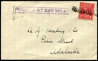 Lot 1209 [1 of 2]:245 Mile Siding: violet boxed 'POSTED AT 245 MILE' on face of cover to Adelaide, 2d red KGV cancelled with 'POSTED IN LATE[ FEE BAG]