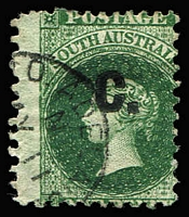 Lot 1154:Customs Black 'C' on 1d deep green Wmk Star P11½-12x10x10x10, SG #101, used Adelaide.
