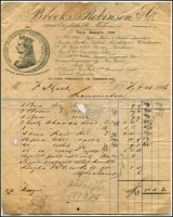Lot 1073:Launceston Customs: attractive, but damaged invoice from Brooks, Robinson & Co, Melbourne, faint 'CUSTOMS LAUNCESTON AD VALOREM/TASMANIA' at base. Customs tariff codes added at right.