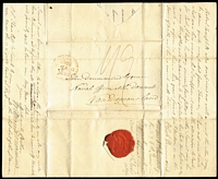 "Lot 1228:1819 (Jan 6) lengthy entire from London to John Drummond Esquire, Naval Officer (the customs official) at the Derwent, Van Diemans-land, from his brother requesting that he return home, Rated ""1/9"" in red. Received 28th June. A very early inwards letter. [John Drummond had been deemed unfit to return to his duties after being arrested for the murder of his sister-in-law's child, which he had fathered. He was not convicted and returned home to England in 1820.]"