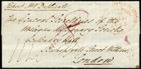 "Lot 995 [1 of 2]:1845 (Dec 2) outer to Wesleyan Missionary Society, England rated ""8"" in red and ""1/4"" in red, Hobart crown oval '2DE2/1845' datestamp in red, London arrival of 7MY7/1846 on back."