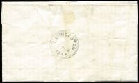 "Lot 612:1846 (Dec 2) commercial entire with ""Cambleton/1\/12\/46"" mss cancel to Launceston, 2-ring '2DE2/1846' (ERD by 10 days) arrival on back. Rated ""4"" in black."
