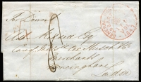 "Lot 997 [1 of 2]:1847 (Feb 12) entire to England rated ""4"" in red and ""8"" in black, Hobart crown circle '12FE12/1847' datestamp in red, London arrival of 11JU11/1847 on back. Endorsed ""Per Derwent""."