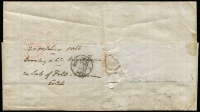 "Lot 614 [2 of 2]:1866 (Nov 23) cover to England with 4d bright blue & 6d cobalt-blue tied by Hobart dumb cancel, adjacent complete strike of 'GENERAL-POST-OFFICE/HOBART-TOWN/25OC25/1866' circular datestamp in red, London/Paid transit on face, Exeter backstamp, overall fine. Endorsed ""Per Madras via Marseilles""."