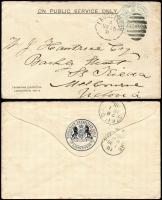 Lot 847 [2 of 2]:Corporation of Launceston: 1891-92 Envelopes (blue frank) with various forms of the 'TASMANIAN EXHIBITION LAUNCESTON 1891-2' imprint at lower-left and blue Exhibition seal on flap, each with Launceston duplex cancels with time codes A, H, K x2 S or U, all used irregularly to external destinations Victoria, New Zealand, Austria (front only) & England x2 (one registered & rare thus). (5)