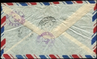 Lot 1664 [2 of 2]:1948 (May 27) use of 3b, 2b & 80s on registered air cover from Bangkok to USA, weight 7g.