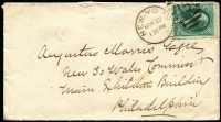 Lot 1705 [1 of 2]:1876 (Nov 22) cover to Augustus Morris/New So Wales Commissr/Main Exhibition Building/Philadelphia with 3c green Washington tied by New York duplex '15', poor Philadelphia arrival backstamp, repaired flap faults.