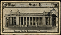 Lot 1554 [1 of 2]:1915 Pan-Pacific Exposition P10 5c blue on fine Exposition cover with full back panel illustration of 'Washington State Building', couple of folds detract little, used Almeda, CA to New Zealand.