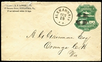 Lot 2344 [2 of 5]:1876 Centenary Single Line under POSTAGE 3c red x2 (unused x1) & unused 3c green, Double Line under POSTAGE 3c green used (small repair), Sc #U218,219,221. (4)