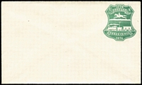 Lot 2344 [1 of 5]:1876 Centenary Single Line under POSTAGE 3c red x2 (unused x1) & unused 3c green, Double Line under POSTAGE 3c green used (small repair), Sc #U218,219,221. (4)