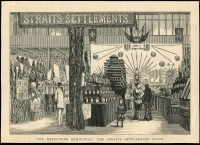 Lot 1238 [1 of 3]:1880 Melbourne International Exhibition: group of large newspaper illustrations showing the courts of Straits Settlements, Western Australia, New Zealand, Fiji & India, also The First arrival of goods and The Red Cross Preserving Company's Trophy. (7)