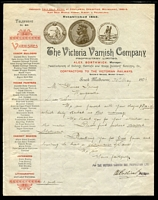 Lot 1239 [3 of 9]:1888-89 Centennial International Exhibition: attractive group of commercial letterheads or invoices, all featuring illustrations of award medals won at various exhibitions including London 1851, Paris 1855, London 1862, Melbourne 1875, Sydney 1879, Melbourne 1880, Calcutta 1885, Melbourne 1888 and others. (9)