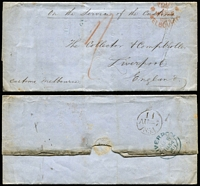 Lot 1177 [2 of 2]:1854 In Service of the Customs covers with red crown oval 'PAID/MELBOURNE' [1] (May 29) to Liverpool reporting on the new Master of the Elizabeth Thompson; [2] (Jul 24) reporting on the appointment of the new Master of the Sea Witch. (2)