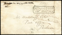 "Lot 1351:1857 stampless cover from Melbourne to Prahran, very fine 'DETAINED FOR/""4d"" POSTAGE' on face endorsed ""at Melbourne & Unclaimed"". Rare."