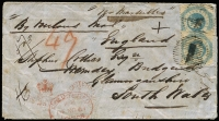 "Lot 787 [1 of 2]:1861 (Sep 26) use of 1/- Octagonal P12 x2 on registered cover from Melbourne to Wales, endorsed ""via Marseilles"" and ""By Overland Mail"", fine."