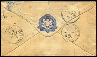 "Lot 908 [2 of 2]:1882 (Mar 21) usage of OHMS envelope with Exhibition embossing in blue on the flap & 'BRITISH COURT,/Melbourne International Exhibition' imprint at lower-left, to Venice ""per Orient Steamer via Naples"" with Melbourne duplex of '1T/MR21/82, 'BRINDISI' transit backstamp (not Naples), taxed ""120"" with Italian Postage Due 10c pair & 1L affixed & tied by 'VENEZIA/1/5 82' cds, small abrasion on face & repaired flap tear clear of the embossing. Ex Trevor Davis [The Exhibition closed 31 April 1881 but usage of of Exhibition stationery continued for at least some months. Stieg & Watson at page 23 state that postage was not required on overseas mail except to countries that were members of the General Postal Union (later the Universal Postal Union). Italy was an original signatory to the GPU, hence the Italian PDues.]"