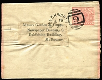 Lot 1227 [2 of 2]:1888 & 1889 usages of ½d pink Wrappers to Gordon & Gotch/Newspaper Bureau/Exhibition from Elmore (a little soiled) or Beechworth (fine) respectively. (2)