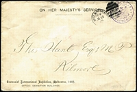 Lot 1166 [1 of 3]:Chief Secretary: Centennial International Exhibition Envelopes [1] 1887 (Apr 2) local use in Melbourne with blue frank, blue imprint on flap; [2] 1889 (Jan 6) Melbourne to Kilmore, violet frank, gold imprint on flap. (2)