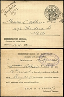 Lot 192 [2 of 2]:Trade & Customs: Department 1902 use for Commonwealth of Australia, Customs and Excise Office. (2)