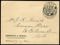 Lot 192 [1 of 2]:Trade & Customs: Department 1902 use for Commonwealth of Australia, Customs and Excise Office. (2)