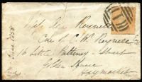 Lot 1017:1857 6d Orange Woodblock Rouletted 7-9 By Calvert 6d orange-yellow SG #57 showing roulettes all sides used on 1857 (Jun 15) cover from Melbourne to England. Tear in middle, the stamp is fine and cancelled Barred Numeral '1'. A rare stamp on cover. [6d ship letter rate to UK.]